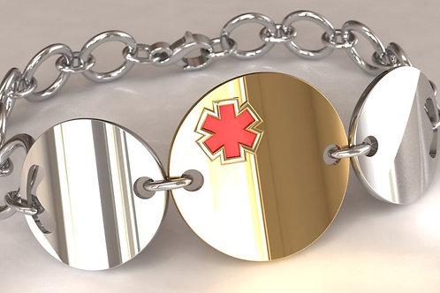 14K Gold and Silver Circles Medical Bracelet
