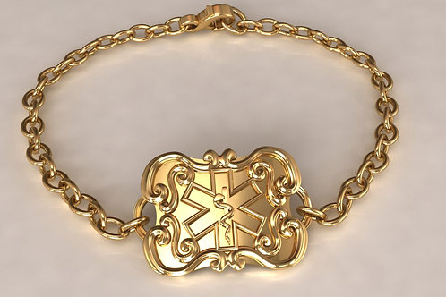 14K gold Flatware Medical Bracelet