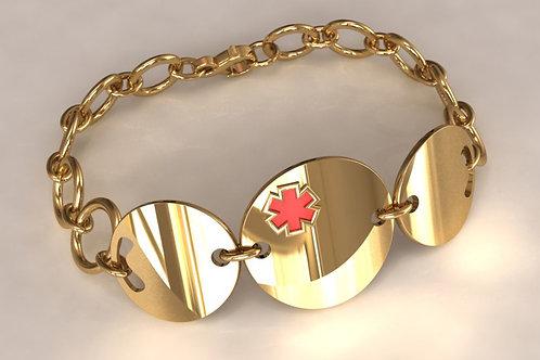 14K Gold Circles Medical Bracelet