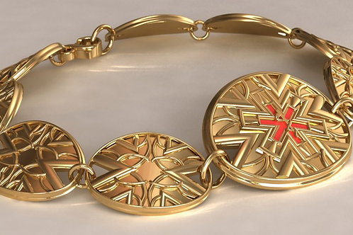 14K Gold Deco Medical ID with custom links