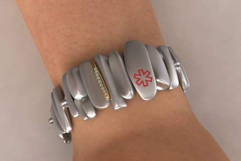 Silver with 14K gold and diamonds Pebbles Medical ID