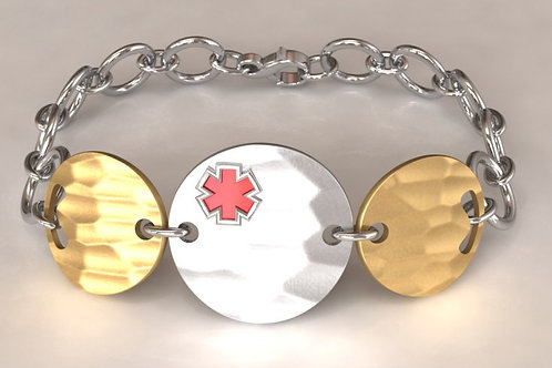 Silver and 14K Gold Circles Medical Bracelet