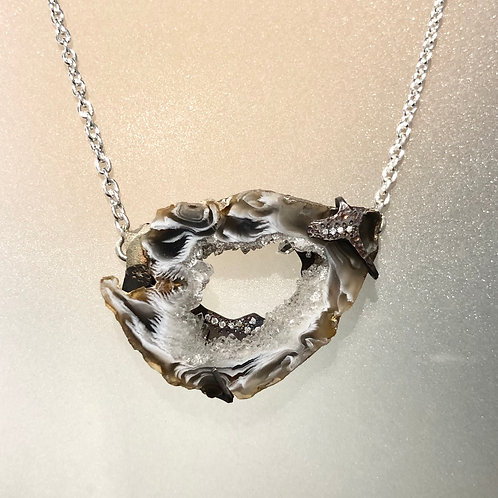 Sterling silver geode cave necklace with lab grown diamonds