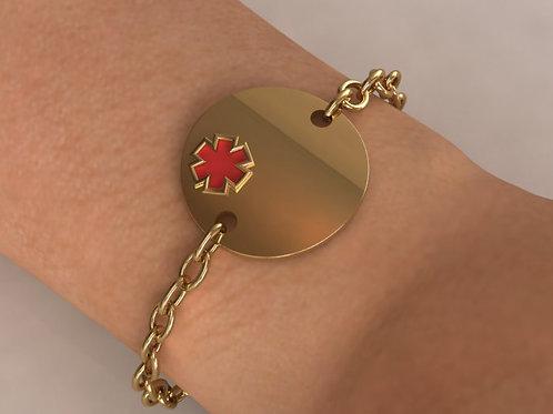 14K Gold Circle Medical Bracelet
