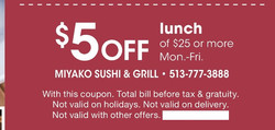 5 off lunch $25