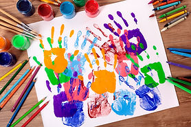 painted-handprints-with-artistic-equipme