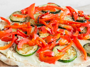 Veggie Pita Pizza with Hummus