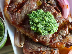 15 Minute Grilled Steak with Mint Pesto