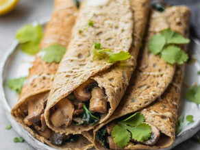 Savory Crepes With Creamy Mushrooms & Kale