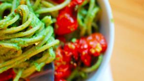 Spaghetti with Pesto & Roasted Tomatoes