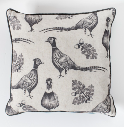 Pheasant & acorn cushion