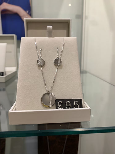 Disc Silver Earrings and Necklace Set