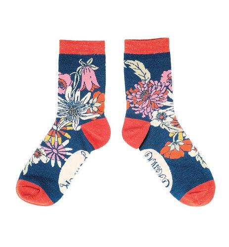 Retro meadow ankle socks -Teal