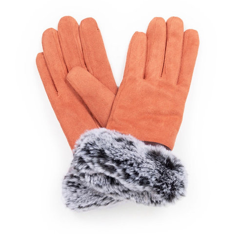 Ladies Powder Faux Suede Gloves