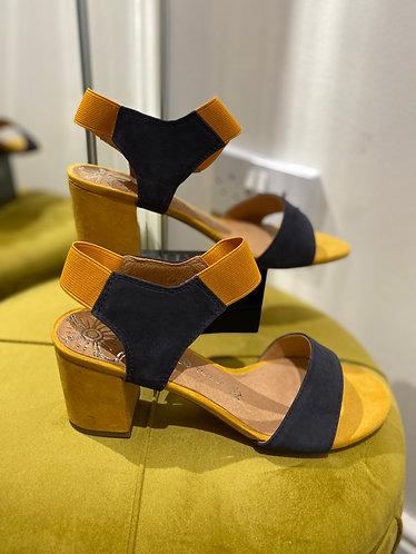 Mustard & Navy sandals
