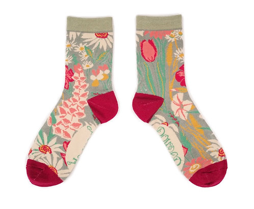 Floral Print ankle socks -mint