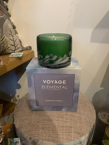 Green glass voyage candle