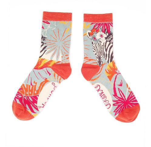 Zebra floral ankle socks
