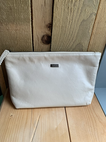 Tahlia Leather Large Cream Pouch