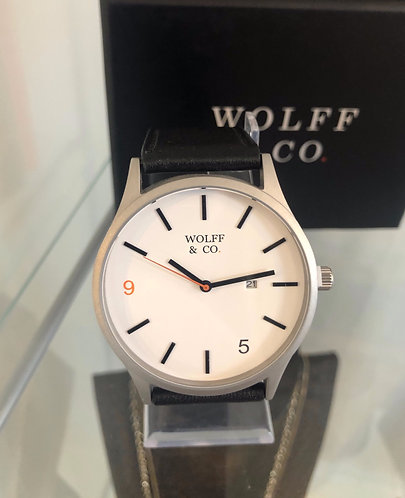 Wolff & Co Watch (Black strap & white face)