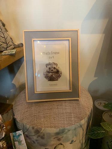 Grey & wooden photo frame 6 x4