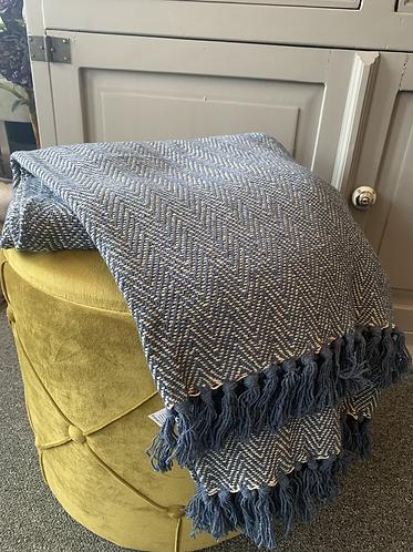 Scandi Boho Blanket Throw - Navy