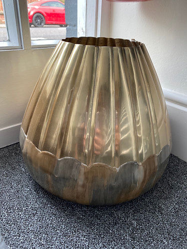 Champagne gold & brown aluminum short vase
