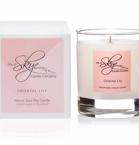 Oriental lily glass jar candle