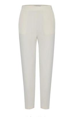 Cream cigarette trousers