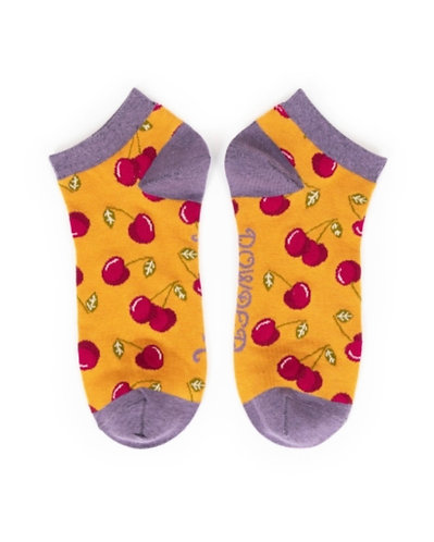 Mustard cherries trainer socks