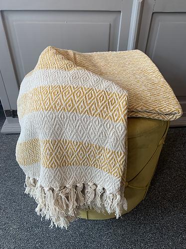 Scandi Boho Blanket Throw - Yellow