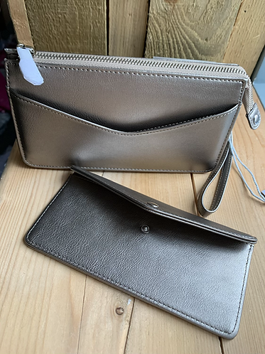 Grey Purse with Separate Wallet
