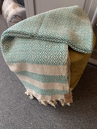 Scandi Boho Blanket Throw - Green