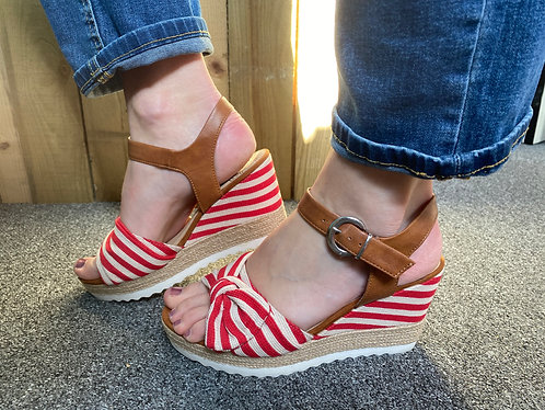Marco Tozzi Red & White Wedge