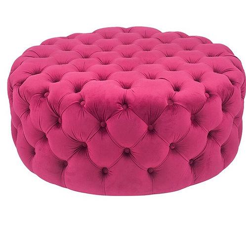 Round Raspberry Buttoned Pouffe