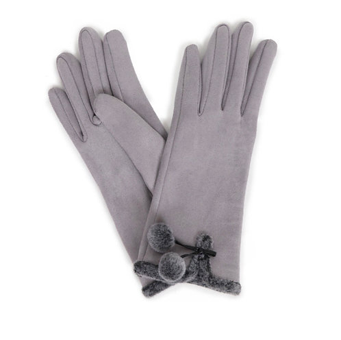 Ladies Powder Faux Suede Gloves