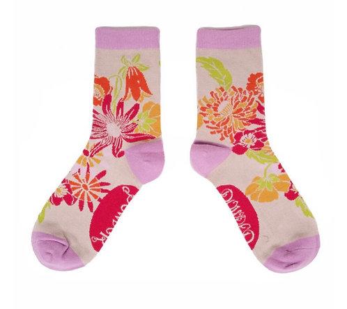 Retro meadow ankle socks - cream