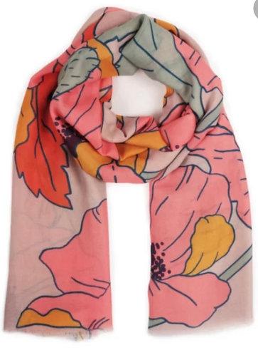 Summer Poppy Print Scarf - pastels