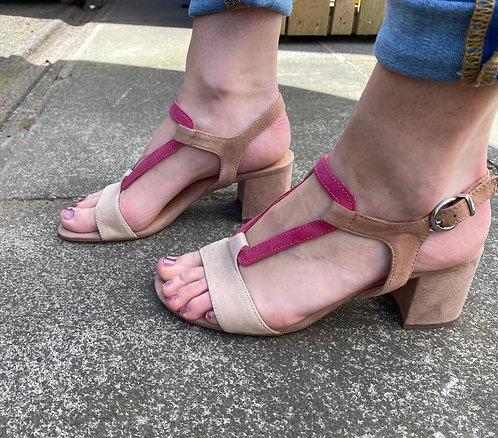 Marco Tozzi pink & beige sandal