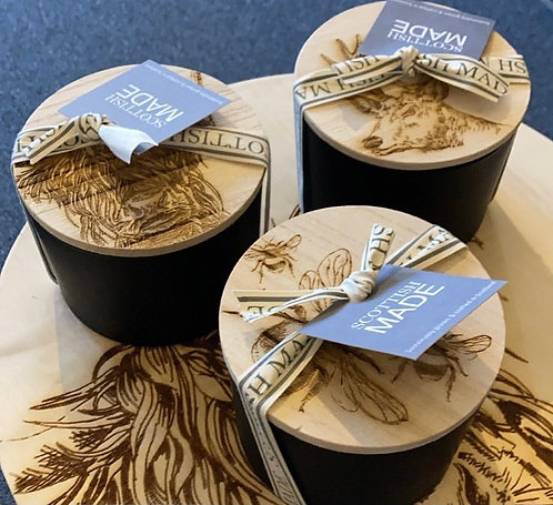 Scented candle with coaster lid - Stag