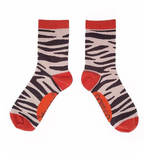 Zebra print ankle socks