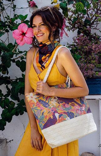 Toucan print beach bag