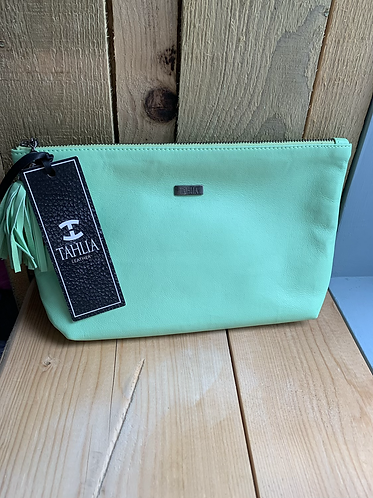 Tahlia Leather Large Green Pouch