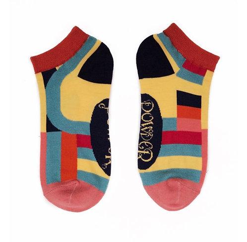 Curved stripe trainer socks