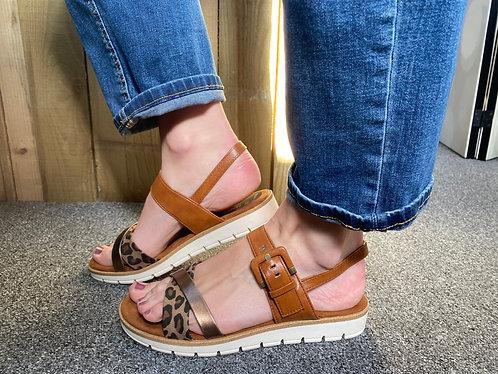 Marco Tozzi cognac & leopard sandal
