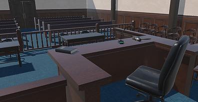 Prebuilt sets of a courtroom