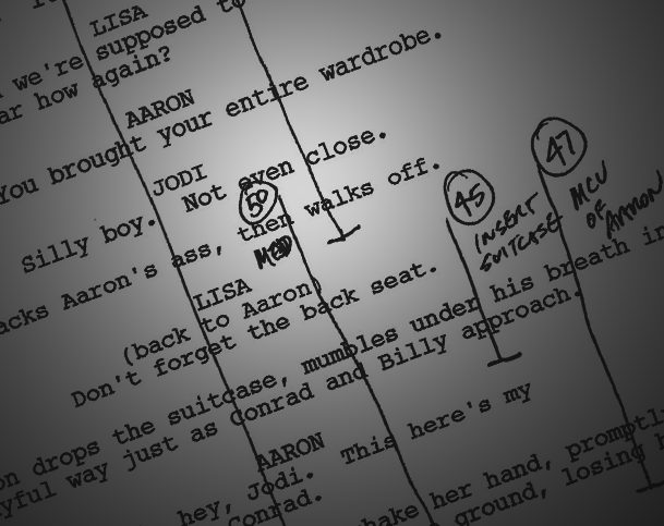 Typed out Script with Ticks drawn on it to mark scenes