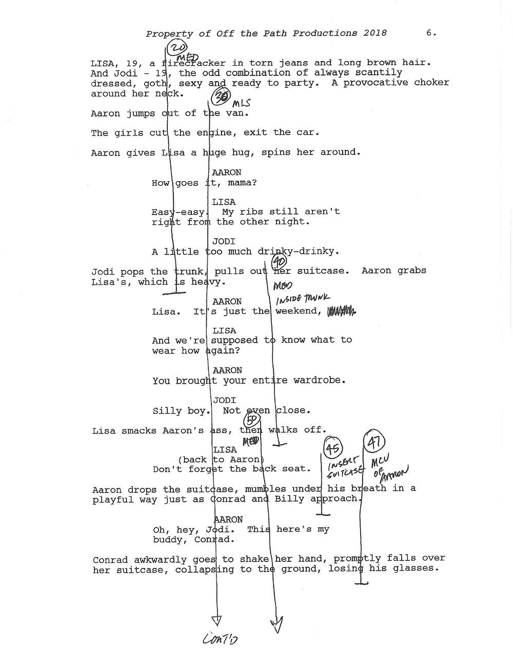 Marked up film script