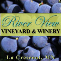 River View Vineyard and Winery in La Crescent Minnesota. Locally grown grapes, wine, Missssippi River overlook, banquet and party space