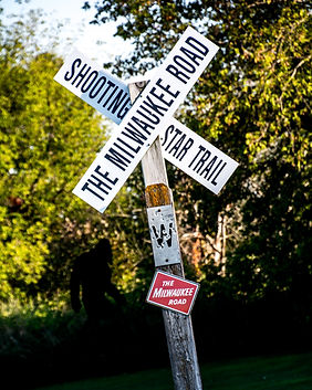 Shooting Star State Trail Railroad Crossing Sign